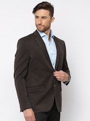 Theme Brown Single-Breasted Fitted Blazer