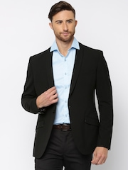 Theme Black Single-Breasted Fitted Blazer
