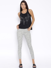 MANGO Off-White Printed Skinny Jeans