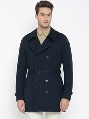 H.E. by MANGO Navy Double-Breasted Smart Fit Waterproof Trench Coat