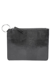 MANGO Women Black Snakeskin Textured Pouch