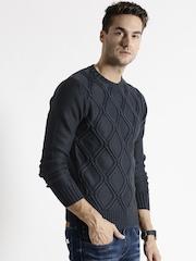 Replay Navy Argyle Pattern Sweater
