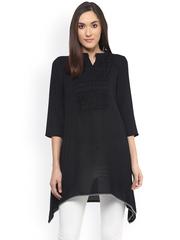 Fusion Beats Black Polyester Semi-Sheer A-Line Tunic