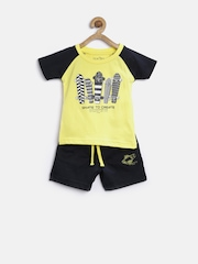 Palm Tree by Gini & Jony Boys Yellow & Navy Printed Clothing Set