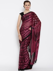 Jashn Burgundy & Black Brasso Printed Saree