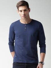 Mast & Harbour Men Navy Solid Henley T-shirt