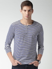 Mast & Harbour Men Navy & White Striped Henley T-shirt