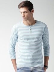 Mast & Harbour Men Blue Striped Henley Neck T-Shirt