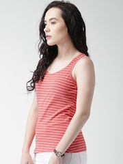 Mast & Harbour Women Coral Red & White Striped Round Neck T-shirt