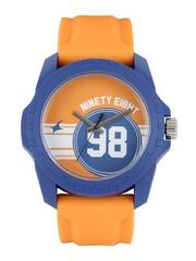 Fastrack Tees Unisex Orange & Blue Printed Dial Watch 38018PP02CJ