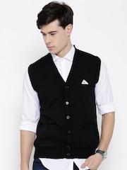 Monte Carlo Men Black Sleeveless Woollen Cardigan
