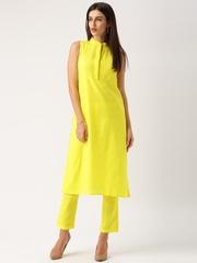 IndusDiva Khadi Originals Yellow Kurta with Trousers