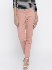 Mast & Harbour Women Dusty Pink Solid Regular Fit Chino Trousers