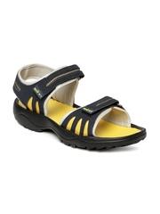 Spinn Men Navy & Yellow Radiate Sports Sandals