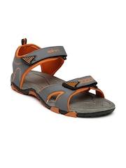 Spinn Men Grey & Orange Sprint Sports Sandals
