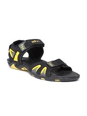 Spinn Men Black Stride Sports Sandals