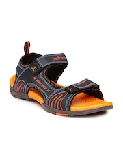 Spinn Men Navy & Orange Tringle Sports Sandals
