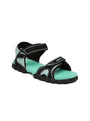 Spinn Women Black & Sea Green Sports Sandals