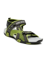 Spinn Men Grey & Green Sports Sandals