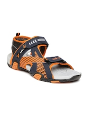 Spinn Men Navy & Orange Victory Sports Sandals