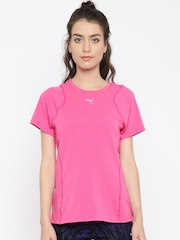 Puma Women Pink Solid Round Neck T-Shirt