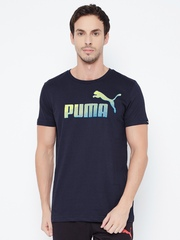 PUMA Men Navy Printed DryCELL Slim Fit T-Shirt