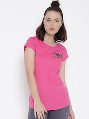 Puma Women Pink Style ATHL Printed Round Neck T-shirt