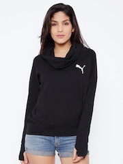 Puma Women Black Solid Pullover Sweatshirt