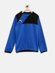 PUMA Boys Blue & Black Colourblocked Training Sweatshirt