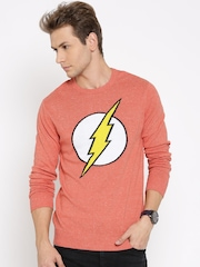 DC Comics Coral Orange Patterned Sweater