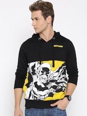 Batman Black Printed Panelled Hooded Sweatshirt