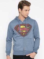 Superman Blue Printed Hooded Sweatshirt