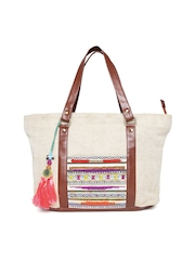 Desi Drama Queen Beige Jute Handcrafted Beaded Shoulder Bag