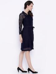 Tokyo Talkies Navy Lace A-line Dress