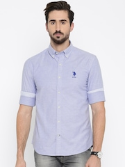 U.S. Polo Assn. Men Blue Regular Fit Solid Casual Shirt