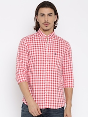 U.S. Polo Assn. Men Red Tailored Fit Checked Casual Shirt