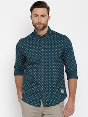 U.S. Polo Assn. Men Teal Blue Regular Fit Printed Casual Shirt