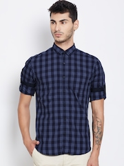 HIGHLANDER Men Navy Slim Fit Checked Casual Shirt