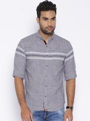 LOCOMOTIVE Men Navy Blue Regular Fit Casual Shirt