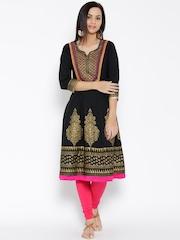 Rangmanch by Pantaloons Black Printed Anarkali Kurta
