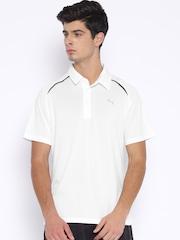 PUMA White Polyester Polo T-Shirt