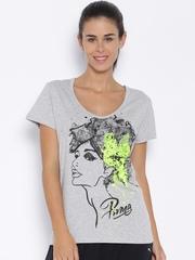 PUMA Grey Melange Printed T-Shirt