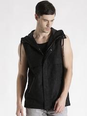 Antony Morato Black Sleeveless Hooded Jacket
