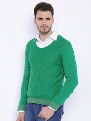 FIFTY TWO Men Green Sweater