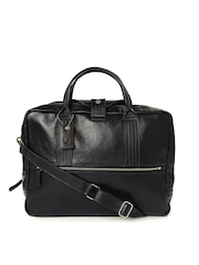 Hidesign Men Black Leather Laptop Bag