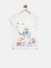 mothercare Girls Off-White Graphic Print T-shirt
