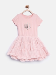 mothercare Girls Dusty Pink Net Fit & Flare Dress