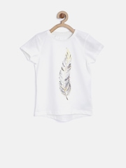 mothercare Girls Off-White Feather Print T-shirt with Sequins