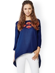Global Desi Blue Top with Embroidered Detail