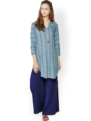 Global Desi Blue Printed Kurta